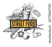 hand drawn fast food banner.... | Shutterstock . vector #1075869785