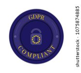 gdpr badge poster made with... | Shutterstock .eps vector #1075874885