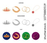 tiara  gold chain  earrings ... | Shutterstock .eps vector #1075880519