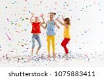 happy children on holidays have ... | Shutterstock . vector #1075883411