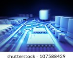 Blue Circuit Board - 3D illustration. - stock photo