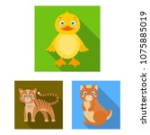 toy animals flat icons in set... | Shutterstock .eps vector #1075885019