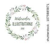 hand drawn watercolor...   Shutterstock . vector #1075885871