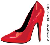 red high heeled shoe over white ... | Shutterstock .eps vector #1075887311