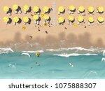 3d rendering. aerial top view...   Shutterstock . vector #1075888307