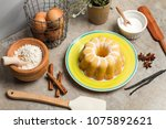 a vanilla and lemon bundt cake | Shutterstock . vector #1075892621