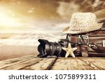 brown old suitcase and travel... | Shutterstock . vector #1075899311