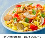 close up of a plate of rustic... | Shutterstock . vector #1075905749