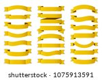 21 yellow   gold ribbons on... | Shutterstock .eps vector #1075913591