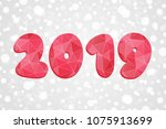 2019 polygonal symbol. happy... | Shutterstock .eps vector #1075913699