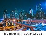 brooklyn bridge with new york... | Shutterstock . vector #1075915391
