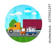 icon of road transport and... | Shutterstock .eps vector #1075931297