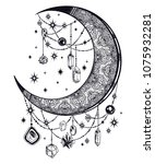 ornate crescent boho moon with...   Shutterstock .eps vector #1075932281