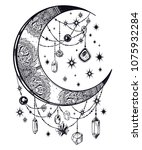 ornate crescent boho moon with... | Shutterstock .eps vector #1075932284