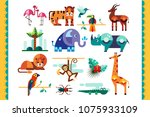 jungle animals  birds and... | Shutterstock .eps vector #1075933109
