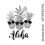 vector set of five pineapple...   Shutterstock .eps vector #1075935701