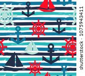 nautical background. seamless... | Shutterstock .eps vector #1075943411