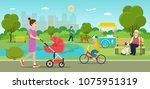vector summertime flat...   Shutterstock .eps vector #1075951319