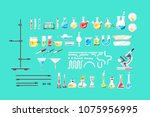 chemical laboratory equipment... | Shutterstock .eps vector #1075956995