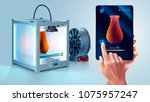 white 3d printer with filament... | Shutterstock . vector #1075957247