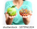 healthy lifestyle concept ... | Shutterstock . vector #1075961324