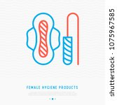 female hygiene products ... | Shutterstock .eps vector #1075967585