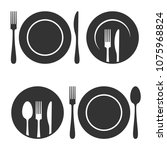 plate with fork and knife icons ... | Shutterstock .eps vector #1075968824