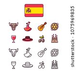 spain icons set. traditional... | Shutterstock .eps vector #1075969835