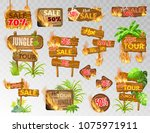 set wooden panels with flame... | Shutterstock .eps vector #1075971911