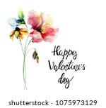 original summer flowers with... | Shutterstock . vector #1075973129