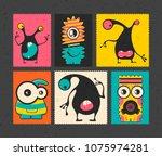 set of six retro postage s... | Shutterstock .eps vector #1075974281