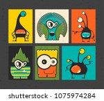 set of six retro postage s... | Shutterstock .eps vector #1075974284