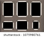 old photo album page with... | Shutterstock . vector #1075980761