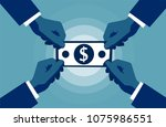 four hands reaching to cash... | Shutterstock .eps vector #1075986551