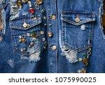 blue jacket jeans denim with... | Shutterstock . vector #1075990025