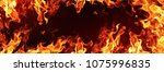 fire flames on black background | Shutterstock . vector #1075996835