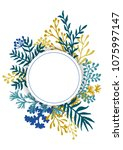 vector card with herbal twigs... | Shutterstock .eps vector #1075997147
