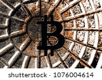 bitcoin on abstract background... | Shutterstock . vector #1076004614