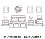 bedroom interior. hotel retro... | Shutterstock .eps vector #1076008865