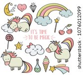doodle items collection with...   Shutterstock .eps vector #1076012099