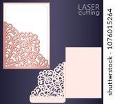 laser cut wedding invitation... | Shutterstock .eps vector #1076015264