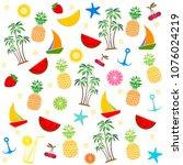 colorful seamless summer... | Shutterstock . vector #1076024219