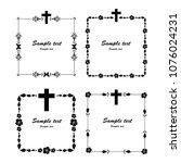 cross icons set. obituary... | Shutterstock . vector #1076024231