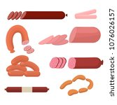 set of sausage  salami. meat... | Shutterstock .eps vector #1076026157