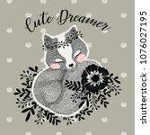 cute fox illustration. | Shutterstock .eps vector #1076027195