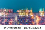 container ship in export and... | Shutterstock . vector #1076033285