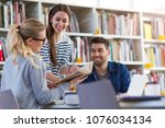 university students working in... | Shutterstock . vector #1076034134