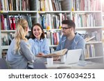 university students working in... | Shutterstock . vector #1076034251