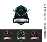 warrors badge. vector template. | Shutterstock .eps vector #1076042171
