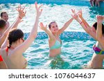 group of cheerful young people... | Shutterstock . vector #1076044637